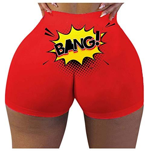 jieGorge Pantalones, Moda para Mujer Slim Hot Funny Words Print Pantalones Cortos Deportivos Pantalones Cortos...
