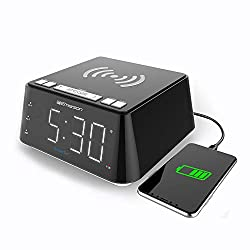 "Emerson Radio ER100104 Wireless Charging Alarm Clock with Temperature Detector, Night Light, USB Charging and 1.2"" White LED Display"
