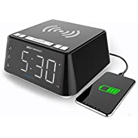 Emerson Radio Wireless Charging Alarm Clock with Temperature Detector