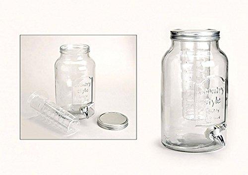 meindekoartikel Glasfass 5 Liter mit Infuser und Zapfhahn - Faß mit Zapfhahn - Wasserspender Getränkespender