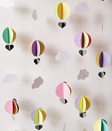 Cieovo Hot Air Balloon 3D Clouds Paper Garland Banner for Baby Shower Birthday Wedding Party Home Nursery Room Decorations Up Up and Away Photo Prop (5 pcs)
