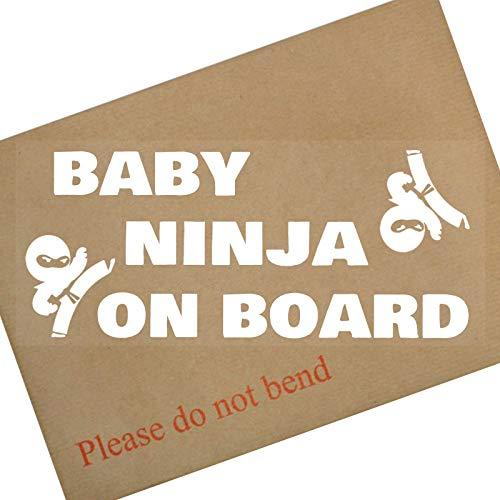 Platinum Place 1 x Baby Ninja On Board Auto-Fenster-Aufkleber für Kinder, Kinder, Auto, Van, LKW, Karate, Ringen, Boxen, Kickboxen, Sport