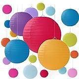 20 PCS Linternas de papel redondas coloridas con nervaduras de alambre, pantallas de diferentes tamaños para bodas, salones y eventos - Tamaños surtidos de 15, 20, 25,30 CM (Multicolor)
