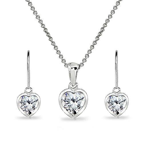 Sterling Silver Cubic Zirconia Heart Bezel-Set Solitaire Pendant Necklace & Dangle Earrings Set for Women Teen Girls