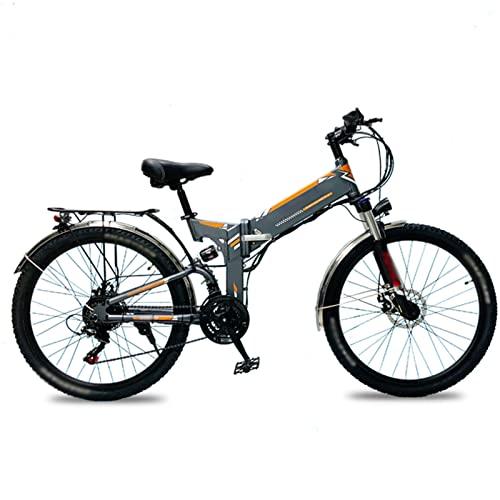 Liu Yu·casa creativa Bicicleta eléctrica para Adultos 26 Pulgadas Neumático Ebikes Plegable 48V Batería de Litio E-Bike 500W Mountain Snow Beach Bicicleta eléctrica (Color : Gris)