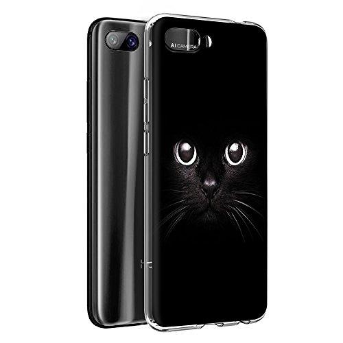 Cover Honor 10, Eouine Custodia Cover Silicone Trasparente con Disegni Ultra Slim TPU Silicone Morbido Antiurto 3D Cartoon Bumper Case per Huawei Honor 10 2018 5,84  Smartphone (Gatto Nero)