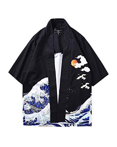 Hombre Camisa Kimono Hippie Cloak Estilo Japonés Estampado Holgado Manga 3/4 Cardigan 811003 2XL