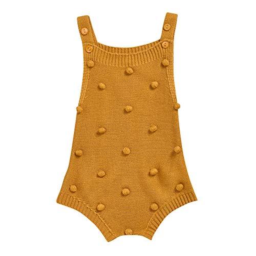 (0-24M) Barboteuse Solide KnittedPlush Manteau de Harnais de Boule de Fourrure tricoté sans Manches de Couleur Pure pour Enfants Body Chaud bébé Nouveau-né Vêtements Chauds