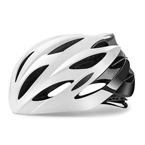 ZHOUZJ Bike Helmet, Lightweight Helmet Road Bike Cycle Helmet Mens Women for Bike Riding Safety Adult Helmet(Fits Head Sizes 54-62cm),Black+White,M