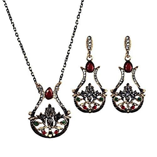 Thumby Dames Metalen Pop Tungsten Geometrische Ketting Oorbellen Set Vintage Vaas Lotus Ketting + Oorbellen Twee sets van Legering Inlaid Gem Series, Wit, 45cm