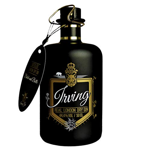 Irving Real London Dry Gin, Premium Gin aus deutscher Herstellung in Designerflasche, 16 Botanicals, 44,4% vol, 0,5l