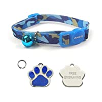 Safety snap apart cat collar Designed to quick release if cat is caught FREE ENGRAVING ON YOUR PERSONALISED CAT TAG - Please make sure you send us your engraving details in the gift option box or via an Amazon message Camouflage Cat Collar - Fully sl...
