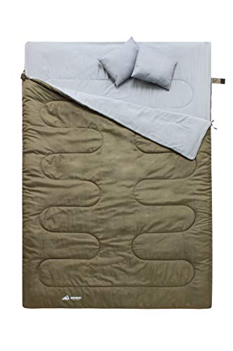 Semoo Doppelschlafsack - 3-Jahreszeiten Schlafsack für 2 Personen - 220 x 150cm (bis -5C) - Olivgrün