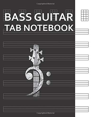 Bass Guitar Tab Notebook: Bass Cleff Headstock Bass Guitar Blank Tablature Writing Paper with Chord Fingering Charts. Electric Guitarist Manuscript Tabs Book Journal.