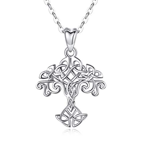 INFUSEU Celtic Tree of Life Necklace Sterling Silver for Women Girls Filigree Irish Infinity Eternity Trinity Cross Twist Ladies Neckless Small Jewelry