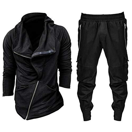 theshyer Suéter con cremallera diagonal para hombre de invierno costura de moda deportiva rebeca pantalones traje