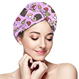 Hair Towel Wrap Turban Microfiber Drying Bath Shower Head Towel,Lovely Mushrooms and Hedgehogs,with...