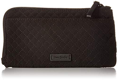 Vera Bradley Women's Microfiber Ultimate Card Case Wallet with RFID Protection, Classic Black