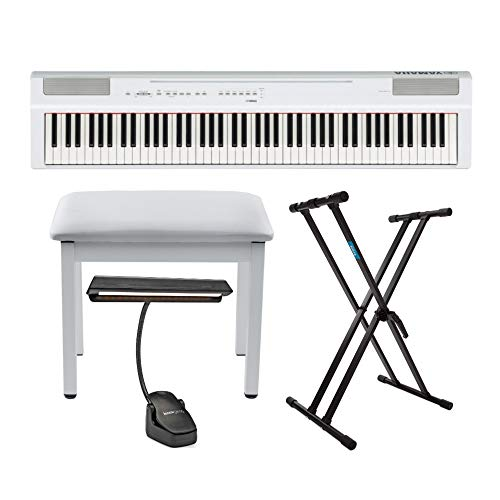Lowest Prices! Yamaha P125 88-Key Piano (White) Bundle with Knox Adjustable Stand, Bench and Music L...