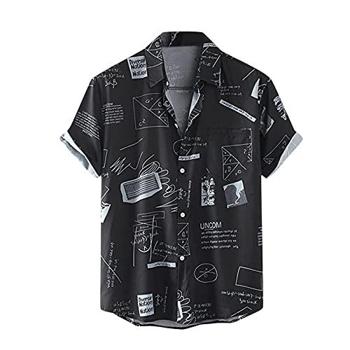 BIBOKAOKE Herren Hemden Kurzarm Sommer Japanischer Stil Bedrucktes Hemd Dünne Freizeithemden Atmungsaktivität Henley Shirt Alltag ArbeitsHemd Urlaub Casual Strandhemd Männer Basic Hemd