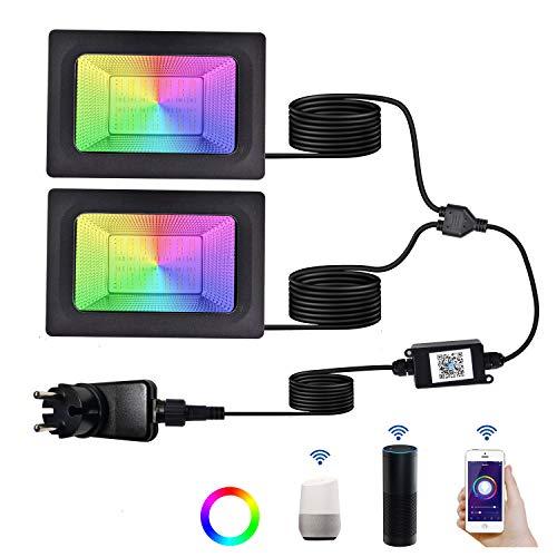 2 * 24W RGB Strahler, Smart Farbwechsel LED Fluter mit Adapter, Blutooth App Fernbedienung Bunt WIFI Außenstrahler mit Stimmenkontrolle, IP65 Wasserdicht Außen Flutlicht Farbig für Garten Party