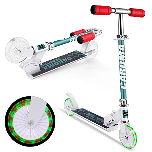 Caroma Scooter für Kinder mit LED-Beleuchtungsrädern, Tretroller, höhenverstellbar, für Kinder im Alter von 3–10 Jahren, klappbarer Heckblech-Roller (weiß)