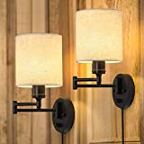 Plug in Wall Light Set of 2, Swing Arm Wall Lamps, Modern Bedroom Wall Sconce Fixtures with Linen Lampshade for Reading Hallway Living Room