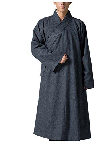 KATUO Grigio Uomo Lungo Abito Tradizionale Buddista Meditazione Monaco Di Lana Robe grigio XL