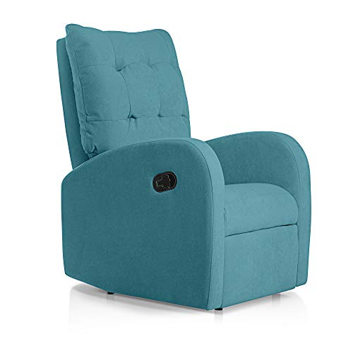 SUENOSZZZ-ESPECIALISTAS DEL DESCANSO Sillon Relax orejero reclinable Soft tapizado en Tela Antimanchas Turquesa