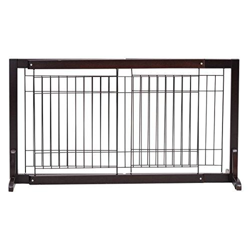 COSTWAY Cancello di Sicurezza Estensibile Barriera Protettiva per Cani Animali Domestici, in Legno di Pino, 97-161 x 32 x 53 cm