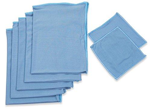 RESPEKT Mikrofaser Glaspoliertuch, Fenstertuch, Trockentücher, Putztücher und Reinigungstücher für Hochglanzoberflächen, 60x40 cm + 15x15 cm - 7tlg. Mikrofaser Set