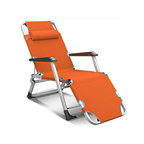 N&O Renovation House Folding Sun Lounger Chair Garden Furniture Camping Garden Deck Chairs Zero Gravity Recliner Reclining Waterproof Chaise Loungers Metal for Outdoor Office (Color : Oran