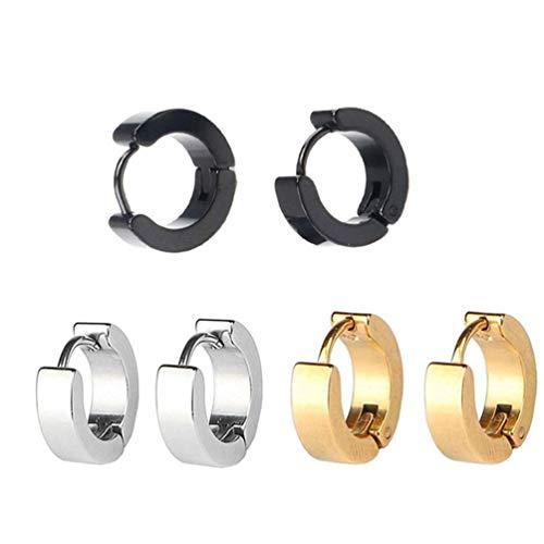 Ogquaton - Pendientes de aro pequeños de acero inoxidable, 4 x 9 mm, hipoalergénicos, para hombre o mujer, económicos y prácticos