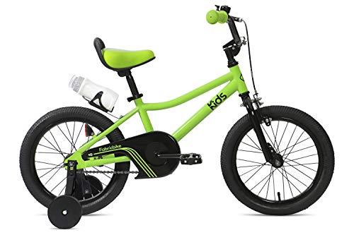 FabricBike Kids - Vélo à pédales pour garçons et Filles, Roues d'entraînement Amovibles, 12 et 16 Pouces, 4 Couleurs (Light Green, 16': 3-7 Ans (Hauteur de 96 à 120 cm))