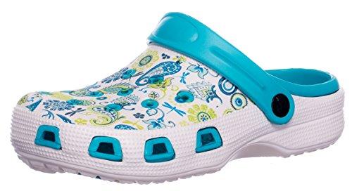 Sabots Femmes Chaussure de Jardin Pantoufle Plage Sandales Clogs Motif de Fleurs