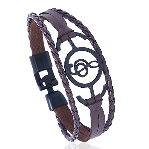 Gespout Musik Symbol Schnalle Leder Armband Männer Mädchen Unisex Armband Mode Persönlichkeit Armband -Brown