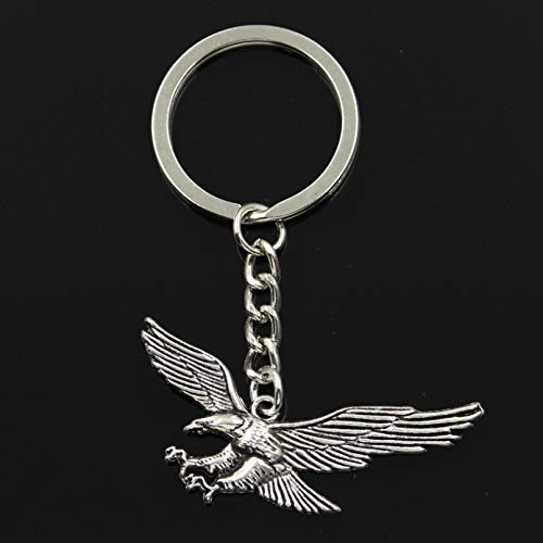 MINTUAN Fashion Key Ring Metal Key Chain Keychain Jewelry Antique Silver Color Plated Hawk Eagle 28X50Mm Pendant