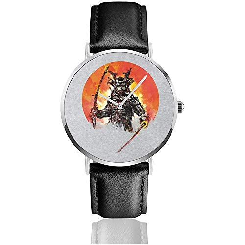 Samurai BOT Watches Reloj de Cuero de Cuarzo con Correa de Cuero Negra para Regalo de colección