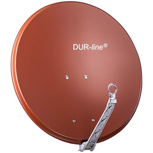 DUR-line Select 75cm x 80cm - [ 3X Test SEHR GUT *] Aluminium Satelliten-Schüssel Qualitäts-Sat-Spiegel (Ø 75/80cm, Rot)