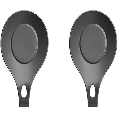 Repose-Cuillère en Silicone Multifonction, Cuillère en Silicone Repose Ustensile de Cuisine Support, Porte-Cuillère, lot de 2 Pièces (Noir)
