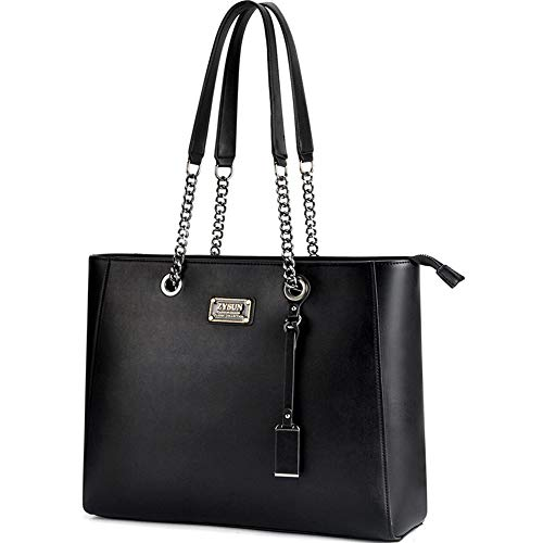 ZYSUN Laptop Tote Bag Fits Up to 15.6 IN Awesome Gifts for Women (Black)
