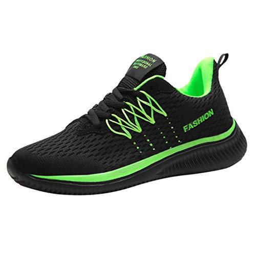 LILIHOT Frauen Sportschuhe Paar Modelle Laufschuhe fliegen gewebt Mesh Freizeitschuhe Mode Laufsocken Schuhe Damen Studenten elastische dünne Stiefeletten rutschfeste Schuhe Mesh-Schuhe (37, A Grün)