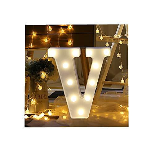 ODJOY-FAN 26 Englisch Brief Licht LED Letter Light Alphabet LED Beleuchtung Licht Oben Weiß Kunststoff Briefe Stehen Hängend A-M Wohnaccessoires Lichter Zubehör (V,1 PC)