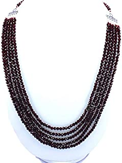 Jewel Beads Natural Beautiful jewellery Natural Faceted Red Garnet 4 mm Round Beads 24'' NeckCode:- BB-21794
