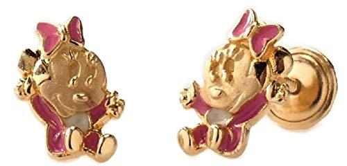 Pendientes para bebe en oro de minnie mouse