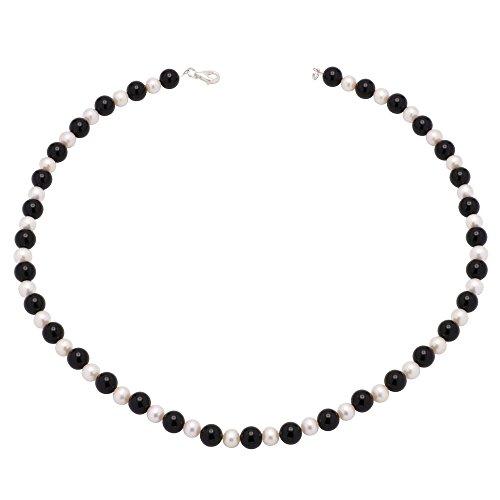 Kette Collier aus Onyx & Süßwasserperlen 925 Silber schwarz weiß Halskette Damen