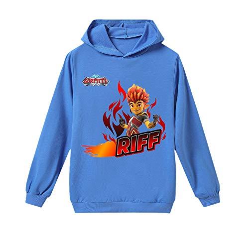 Gormiti Pullover La Camiseta de la Camiseta de Manga Larga de los niños de Moda de la Manera Salvaje Deportes Niños y niñas Casual Otoño Invierno niños (Color : Blue01, Size : 140)