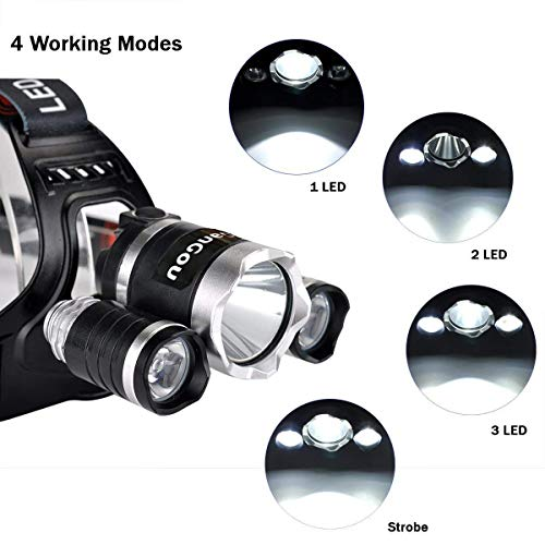 GanGou Rechargeable Headlamp, Super Bright LED Head Torch, Waterproof Headlight with 4 Brightness Modes. Perfect for Running, Camping, Hiking and Walking (Black)