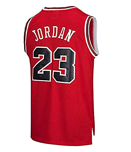 Herren NBA Chicago Bulls Basketball Trikot - Michael Jordan # 23 Retro Basketball Swingman Trikot (Rot, S)