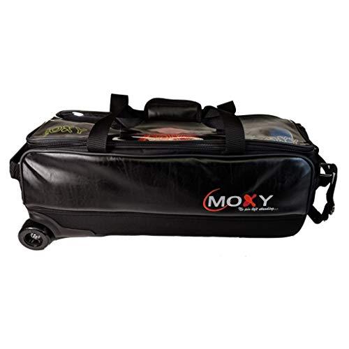 Moxy Bowlingtasche/Bowlingtasche im Vintage-Stil, schlankes Design, schwarzes Leder